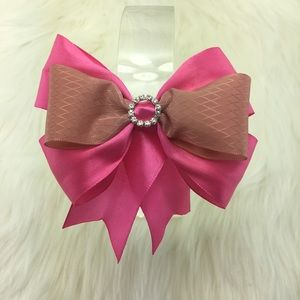 Handmade Pink Hairbow Ribbon with Rhinestone